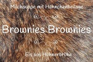 Speisekarte für Brownies perfektes Dinner